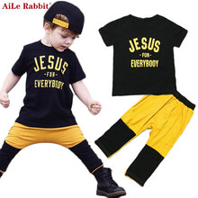 AiLe Rabbit 2017 New Ins Boys Suit T Shirt + Pants 2pcs Set Europe Children's Clothing Baby Cotton Letters Short-sleeved Patch(China)