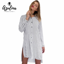 AZULINA Black White Striped Mini Shirt Dress Robe Femme Women Spring Summer Long Sleeve Short Dress Loose Side Split Shift Dress