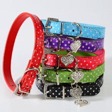Fashion Lovely Dog Collar Spot Hanging Heart Dog Supplies for Puppy Collar and Cat PU Leather Pet Roducts Dog Accessorie 5 Color(China)