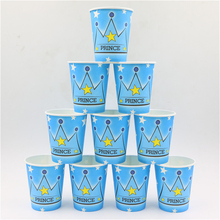 my prince theme boy's crown printing disposable paper cup glass 10pcs/lot kettle happy birthday party decoration(China)
