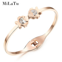 MiLaTu Rose Gold Colors Opening Bangles Stainless Steel Kissing Fish Cuff Bracelets For Women Cubic Zirconia Bangle B255