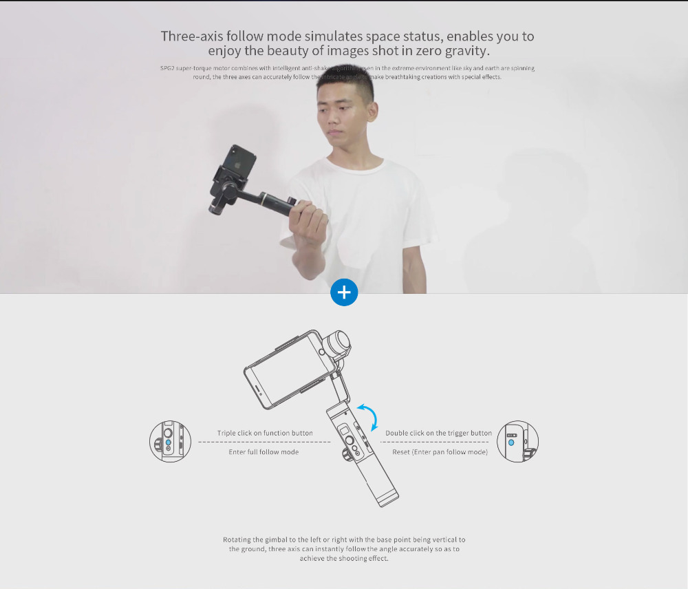FeiyuTech Feiyu SPG2 3-Axis Handheld Stabilizer Gimbal with Follow Focus for Smartphone iphone X 8 7 OPPO Samsung Note 8 ViVO 2