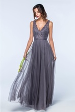 2017 New Grey Long Bridesmaid Dresses Floor Length V Neck Tank Straps Pleats Lace Top Tulle Skirt Formal Wedding Party Dress