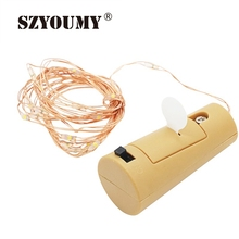 SZYOUMY Battery LED Bottle Wine Cork String Lights Christmas Silver Copper Wire Fairy Lights Home For Wedding/Party Decoration