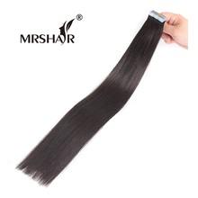 "MRSHAIR 1B# Adhesives Hair Extensions 20pcs Double Sided Tape In Human Hair Natural Black Non Remy Pu Hair Extension 16""-24""(China)"