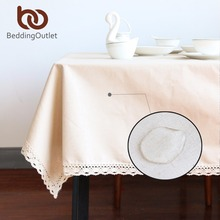 BeddingOutlet Pure Beige Tablecloth Cotton Linen Dinner Simple Table Cloth Macrame Decoration Lacy Table Cover Europe Waterproof