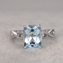 Ring For Women 2CTW Natural Aquamarine Ring white topaz side stone wedding set 14K White Gold Blue Stone Promise Ring Bridal Set