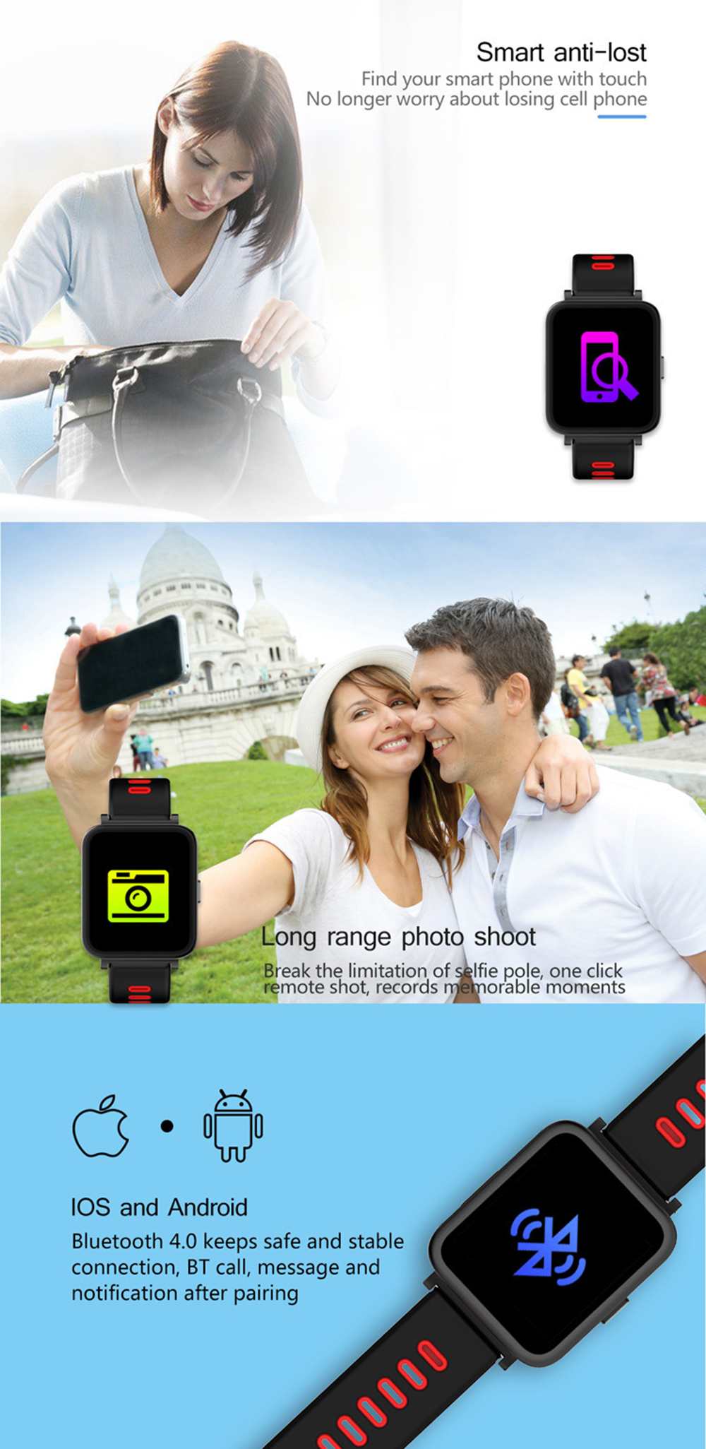 ALANTURING Bluetooth smart watch SW93 fitness activity tracker sleep heart rate monitor clock waterproof gift for Christmas