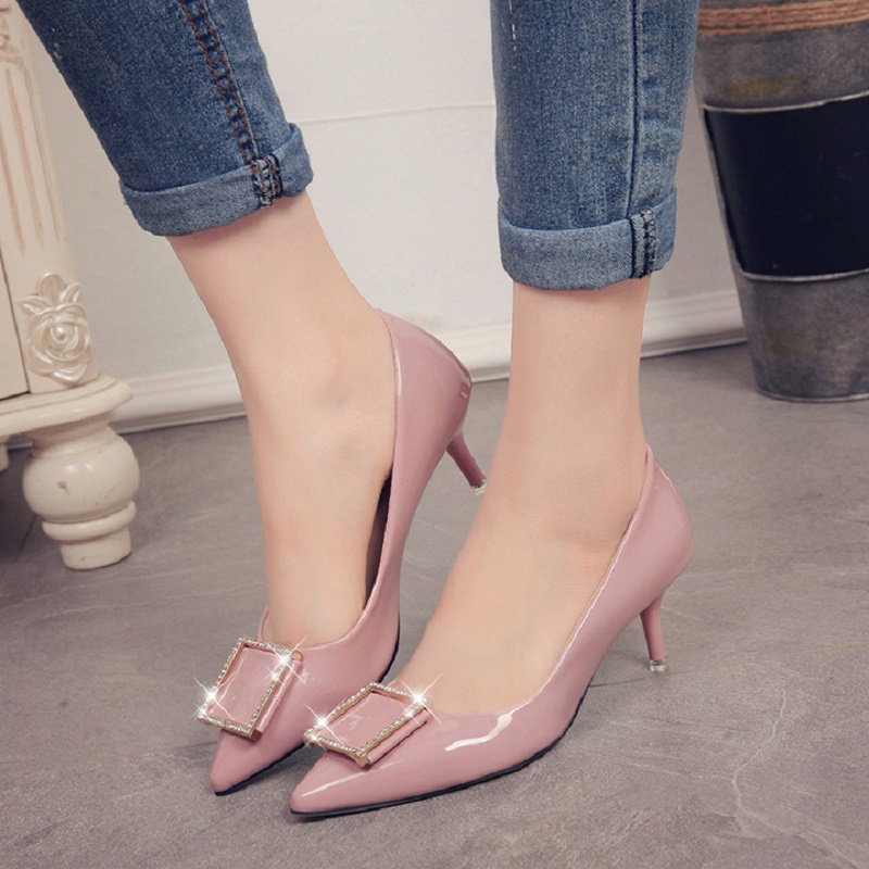 Spring and Autumn new women fashion shoes side buckle sexy comfortable diamond Womens high heels red wedding shoes size34 35 39<br><br>Aliexpress