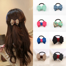 2017 New Bowknot Ponytail Elastic Holders Beauty OL Style Super Quality 2016 New Hair Accessories Girl Women Rubber Band Tie Gum(China)