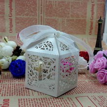 50Pcs Ribbon Paper Laser Cut Out Cross Gift Candy Box Wedding Party Favor Boxes Hot