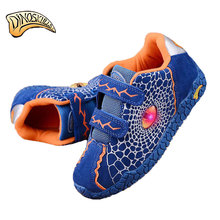 Dinoskulls Boys Sneakers Spring Leather Light Up Kids Shoes Leisure Breathable Children Sport Running Shoes 3D Dinosaurs Sneaker