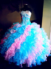 Colorful Rainbow Quinceanera Dresses Real Red Ball Gowns vestidos de 15 anos Floor length Formal Party Dress For 15 Years