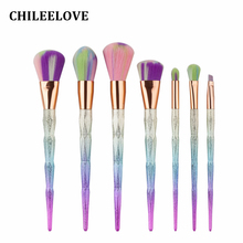 CHILEELOVE 7 Piece Colorful Diamond Shape Makeup Brushes Kit Powder Blush Eyeshadow Brush For Girl Women Base Cosmetic Makeover