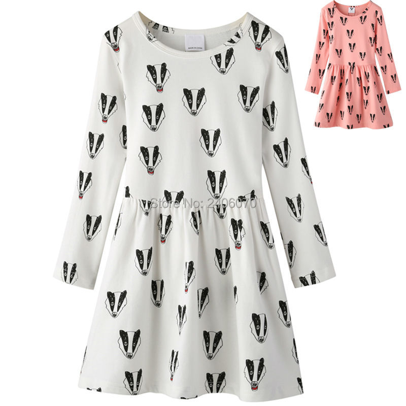 badger fox printed sweater dress long sleeved offwhite bow Child tutu Princess Costume bobo choses new year bunny girl clothing<br><br>Aliexpress