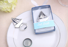 (DHL,UPS,Fedex)FREE SHIPPING+50pcs/Lot+Gleaming Chrome-Finished Metal Sailboat Bottle Opener Sea Beach Themed Wedding Favors