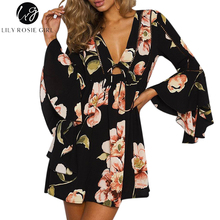 Lily Rosie Girl Boho Deep V Neck Hollow Out Loose Dress Women Long Flare Sleeve Autumn Winter Sexy Party Short Dresses Vestidos