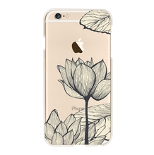 For Apple iPhone 6 6s 7 plus 5 5s SE Case Black sketch Lotus Lace flower Soft silicone TPU thin transparent Phone cover back