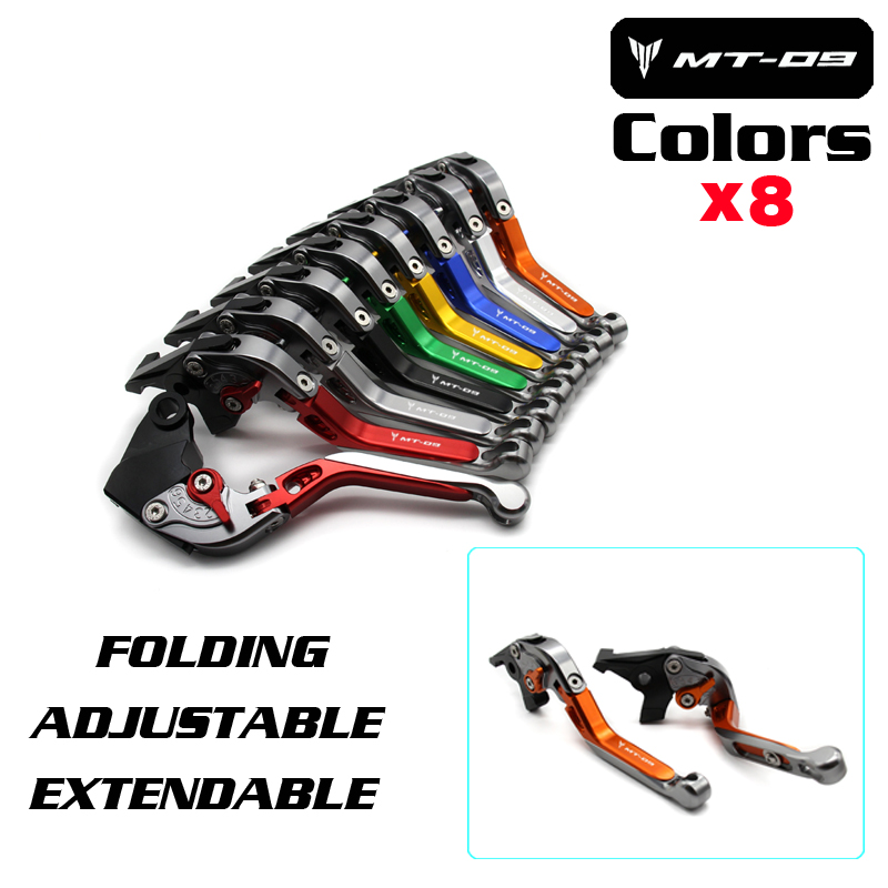 For YAMAHA MT 09 MT-09 Tracer 2014-2016 Motorcycle Accessories Folding Extendable Brake Clutch Levers LOGO MT-09<br>