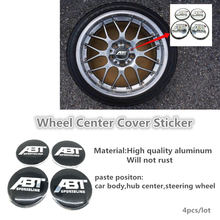 4pcs/lot 56mm ABT Wheel Center Caps Hub Cover Emblem Sticker Fit For Volkswagen ABT GOLF CC(China)
