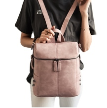 Women Ladies Leather Backpack Shoulder Bag Tote Pink Backpack Fashion Crossbody Satchel