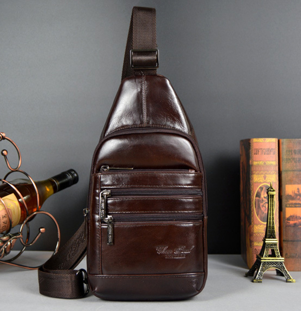 New Men Genuine leather Real First Layer Cowhide Travel Messenger Shoulder Sling Day Pack Chest Bag<br><br>Aliexpress