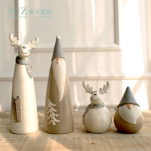 Miz Home 1 Set 4 Pieces Christmas Gift Ceramic Doll Santa Claus Elk Figurine Christmas Decoration Supply Gift for Kids(China)