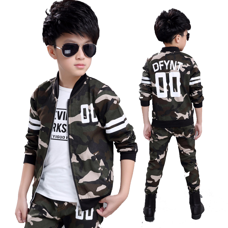 2016 Fashion Baby Boy Clothing Set Camouflage Color Kid Clothes Suir O-neck Coat + Pants Military Style Chidlren Battle Fatigues<br>