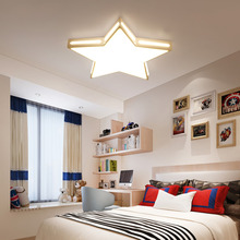 Wooden LED Ceiling Light Star Lamp Panel Surface Mount Flush Foyer Kitchen Lighting Fixture Children Room Bedroom Remote Control(China)