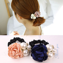 Korea Style Girls Hairwear Pearl Flower Headbands Rose Lovely Hair Accessories Hair Rope Tied Hair Women Elastic Hair Bands(China)