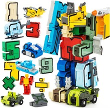 Creative Assembling Educational Articles Preschool Transform Number Robots Deform Plane & Car Birthday Christmas Kids gift Toys(China)