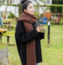 Thick wool knitted long black scarf female winter red Korean wild ginger yellow collar shawl dual-use