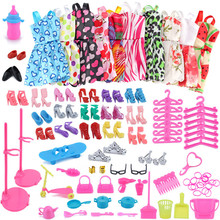 83PC/1Set Barbie Dress Up Clothes Lot Cheap Clothes Shoes Furniture For Barbie Doll Accessories Handmade Clothing (China)