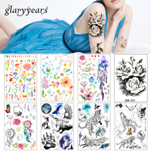 2018 1 Sheet Women Rose Flower Decal Tattoo KM-101 Water Transfer Waterproof Temporary Tattoo Sticker for Beauty Body Makeup Art(China)