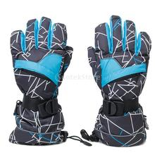 Men Waterproof invisible zipper Breathable Snow Sport Ski Gloves Anti-slip Black W Blue&white Stripes(China)