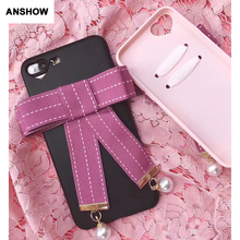 ANSHOW Bowknot Beads Soft TPU Case For Iphone 7 7 Plus 6 6S Plus Bow Tie Bow-knot Rosette Heart Camera Hole Love Silicone Cover(China)