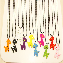 Candy Colorful colors Wood  Giraffe Necklaces Pendants Kids Children Jewelry for women girls nke-j32