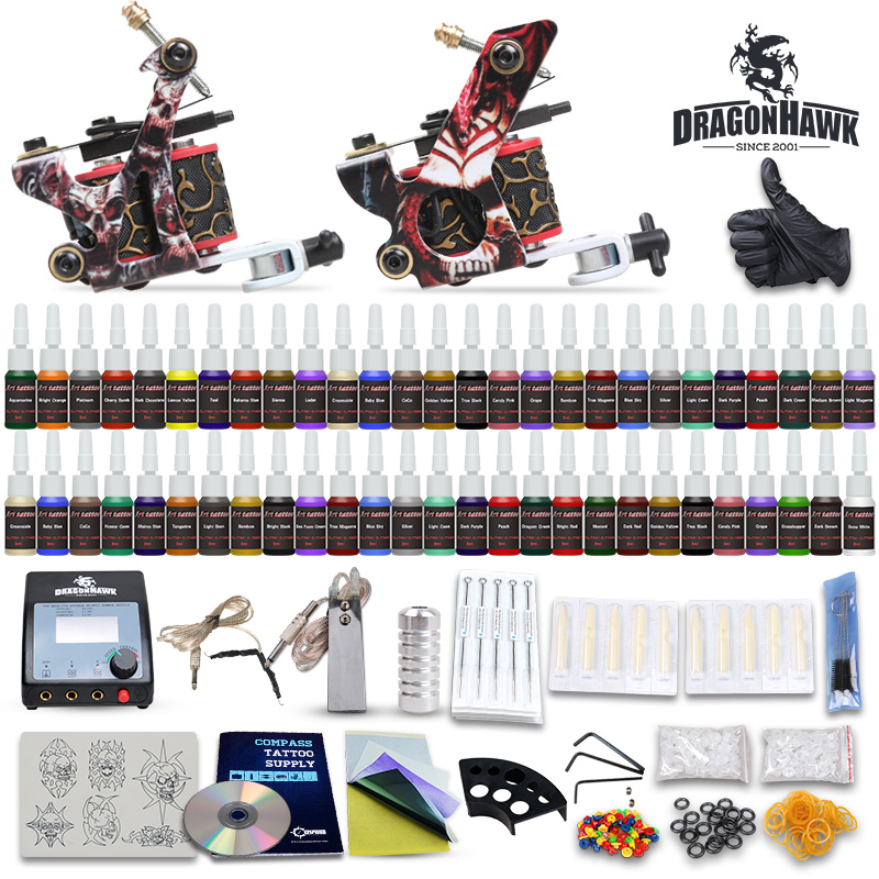 Beginner Complete Tattoo Kit Set 54 color Inks Power Supply 2 Guns D100-2<br>