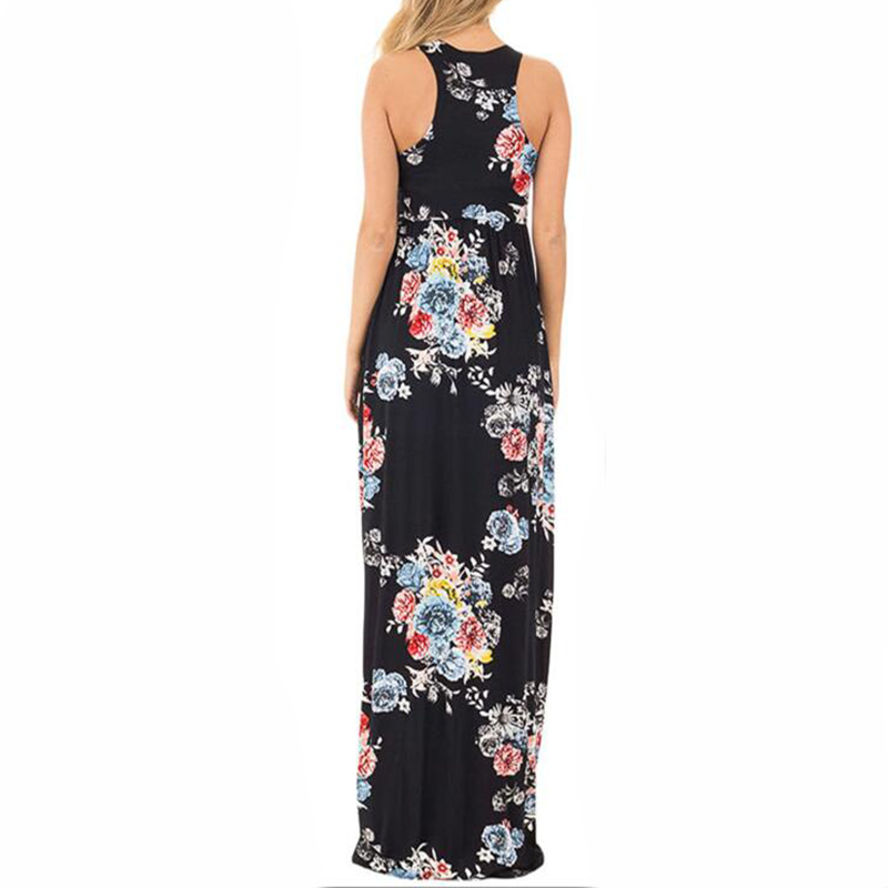 Boho Floral Printed Sundress O-neck Summer Sexy Pleated Maxi Dress 2017 Casual Beachwear Femininos Vestidos Plus Size LX328 10