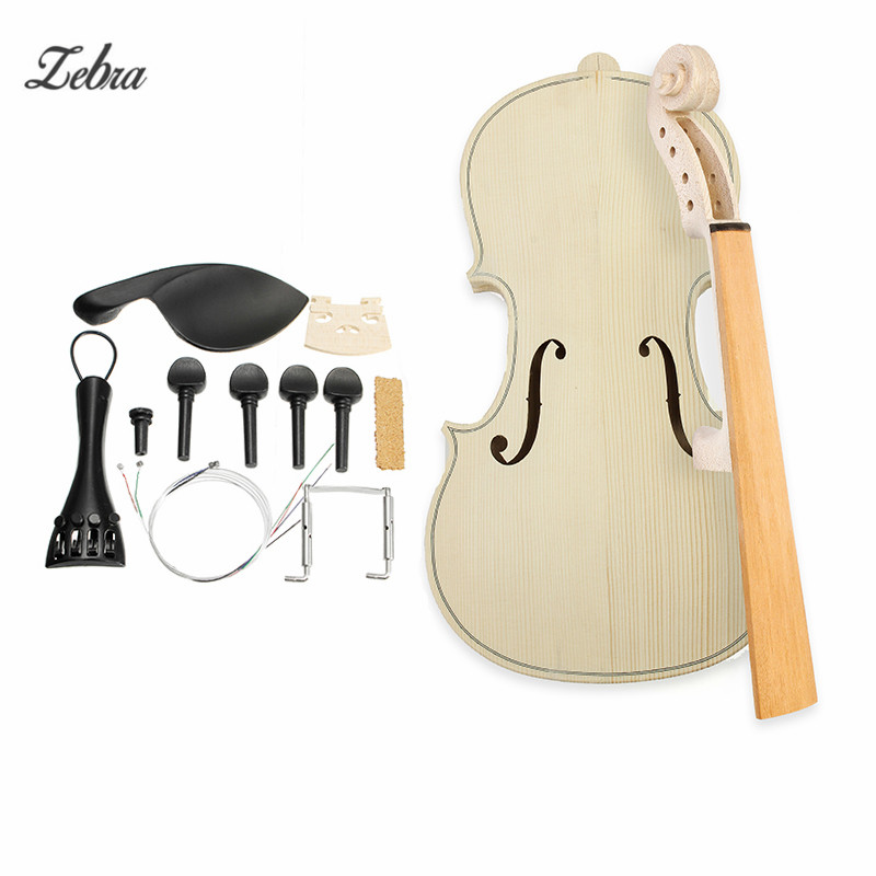 Zebra 4/4 Size DIY Natural Solid Wood Violin Fiddle Kit with Spruce Top Maple Back Fiddle For Musical Instruments Lover<br>