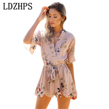 Boho Floral Print Ruffles Playsuits Women Elegant 2017 summer V-Neck Jumpsuits Rompers Sexy Beach Girls Short Overalls LDZHPS
