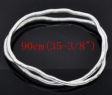 DoreenBeads Silver color Bendy Flexible Snake Chain Necklaces 6mm thick 90cm,sold per pack of 2