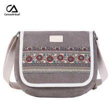 Canvasartisan new women shoulder bag floral casual messenger bag vintage cotton canvas bags female small travel crossbody bag(China)
