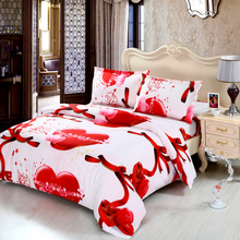 4pcs Duvet Cover Queen Size 3D Printed Bedding Set Bedclothes Love Heart Angel Pattern Quilt Cover+Bed Sheet+2 Pillowcases(China)