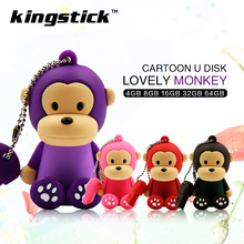 Hot Silicone Cartoon Monkey USB Flash drive 4GB 8GB 16GB Drive Pendrive 32gb 64gb USB Stick External Memory Storage Pen Drive(China)