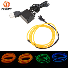 POSSBAY 5M White/Ice Blu/Red/Orange/Purple/Rose Red/Yellow/Green EL Wire Flexible Neon Light Car Decoration With USB(China)