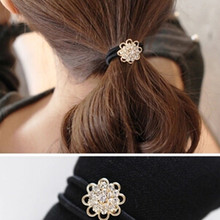 New Korean hair accessories fashion imitation lady full of crystal flower hair ring high elastic rubber band wholesale(China)