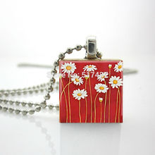Free Shipping Red Daisies Necklace Scrabble Tile Pendant with Ball Chain Included Scrabble Tile Jewelry