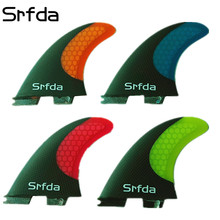 srfda SURFBOARD FINS THRUSTER SET BLUE FCS II G5  NEW SURF FIN SKEG fiberglass with carbon fins M size Blue  Red Yellow Orange