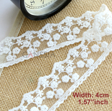 5yrd/lot Width: 4cm Ivory color cotton lace Cute flower design embroidered trimming for DIY Garment accessories (ss-5101)